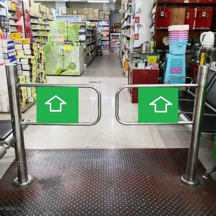 不锈钢立柱式单向摆闸门 超市手推挡闸